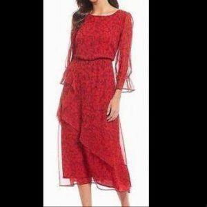 NWT Gibson Latimer leopard ruffle dress
